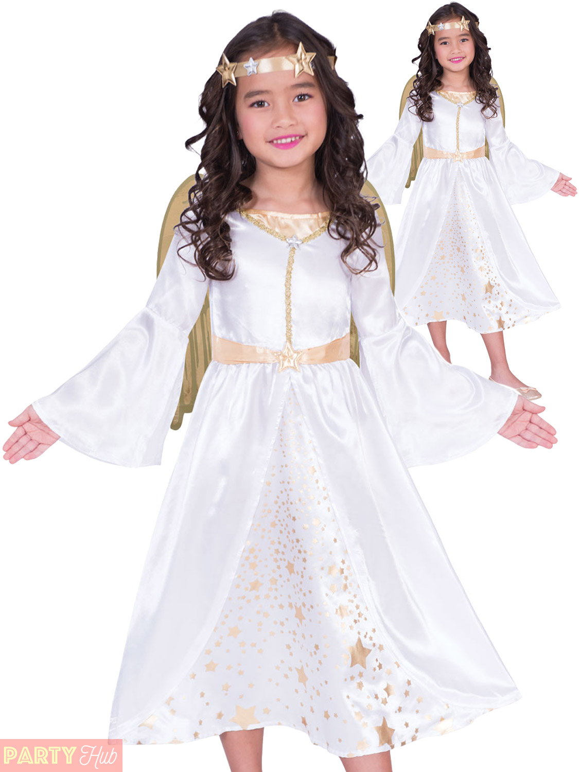 Details about Girls Christmas Angel Costume Childs Nativity Xmas Fancy  Dress Gabriel Outfit