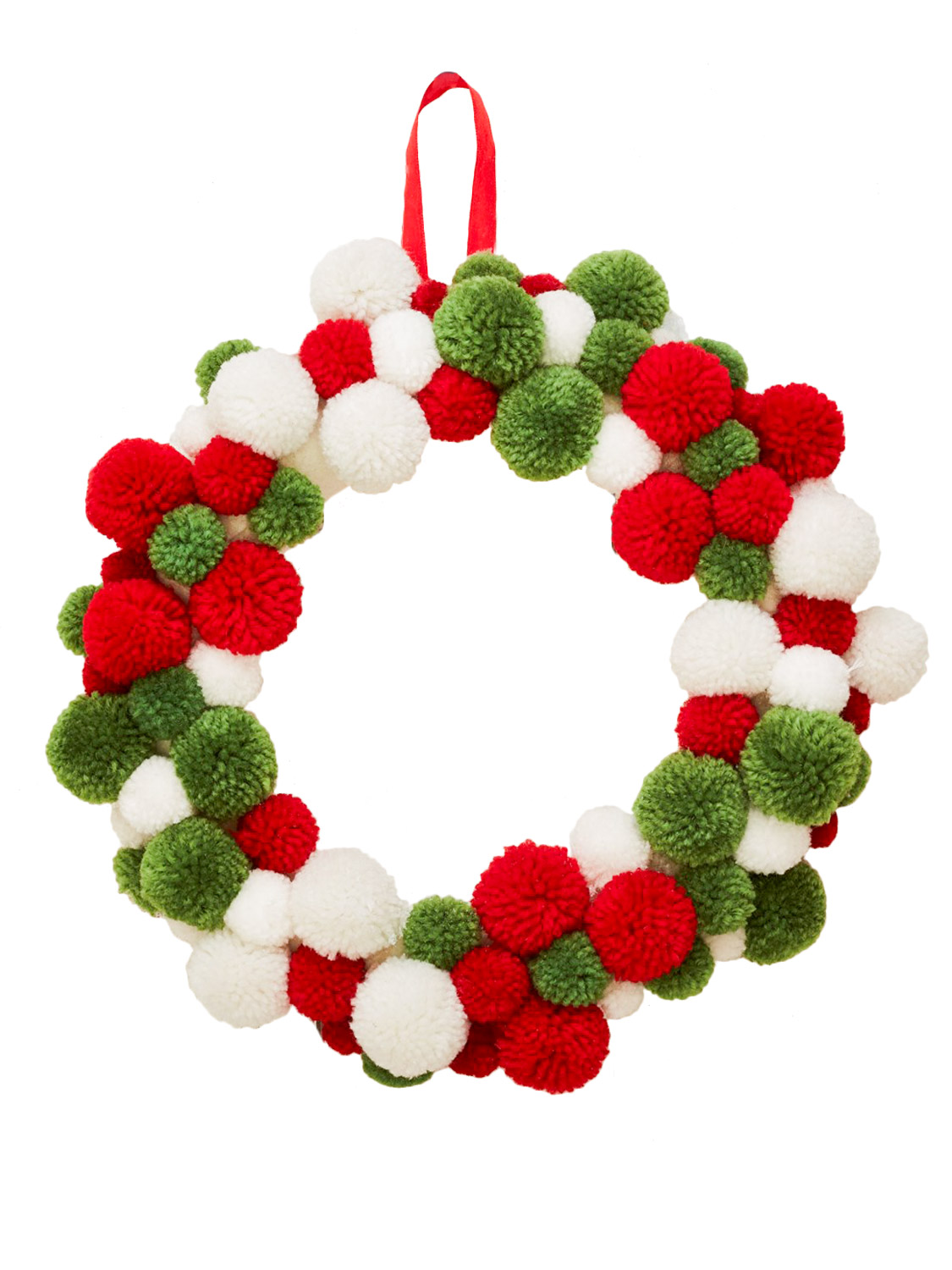 Sass Belle Red White Green Pom Pom Christmas Wreath Festive Xmas