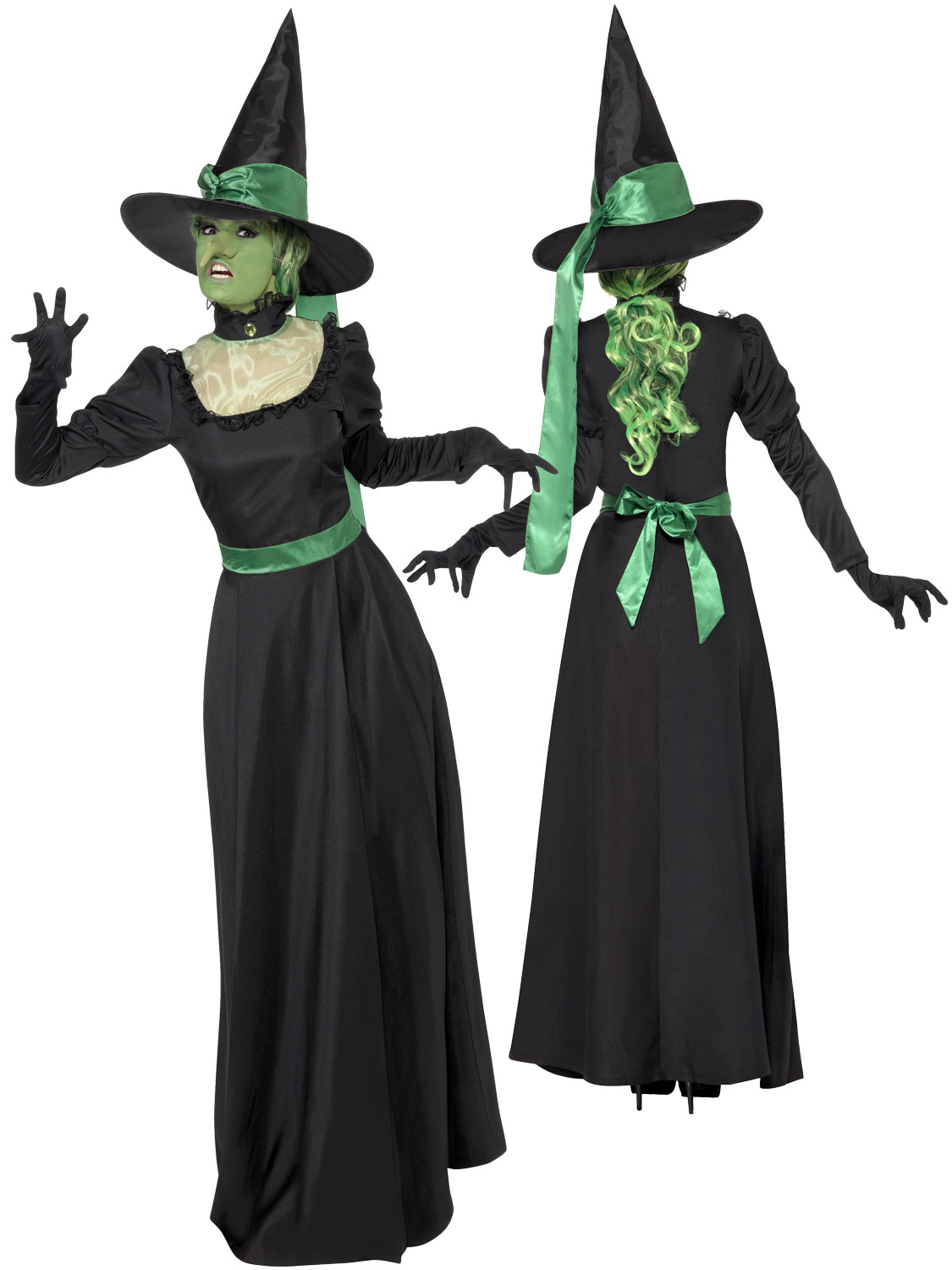 5719ed7be1c Details about Ladies Wicked Witch Costume + Hat Black Traditional Halloween  Fancy Dress Womens