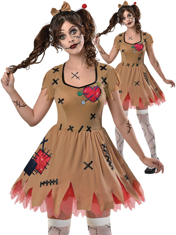 Details About Ladies Voodoo Doll Broken Zombie Doll Costume Halloween Fancy Dress Women Outfit