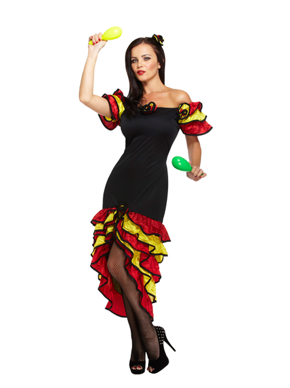 ladies spanish flamenco fancy dress rumba salsa mexican national