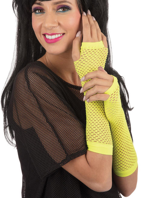 Yellow Fishnet Fingerless Gloves