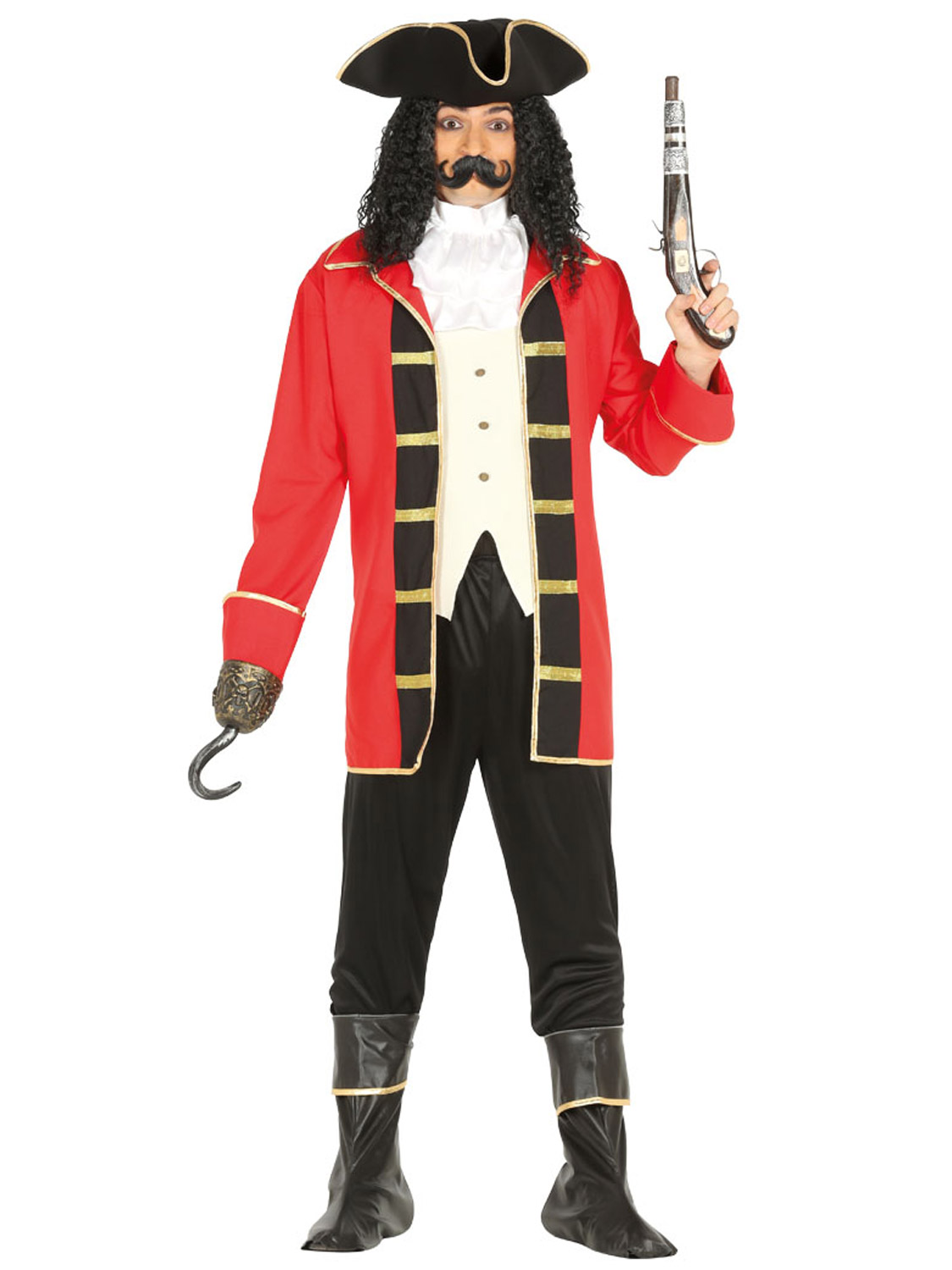Captain Hook Pirate Adult Mens Fancy Dress Up Party Cosplay Halloween Costume