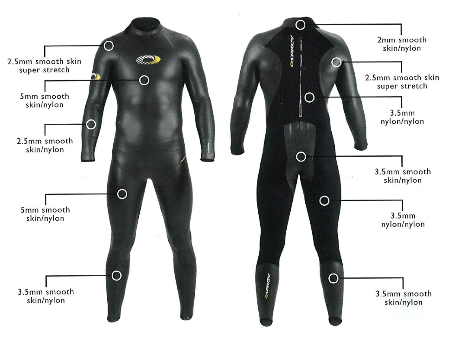 Reduced Triathlon Osprey Mens Smooth Skin Open Water Wetsuit