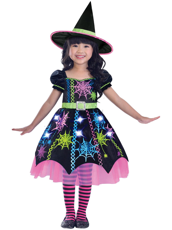 Girls Witch Costume Childs Halloween Rainbow Spider Fancy Dress Outfit Kids Ebay