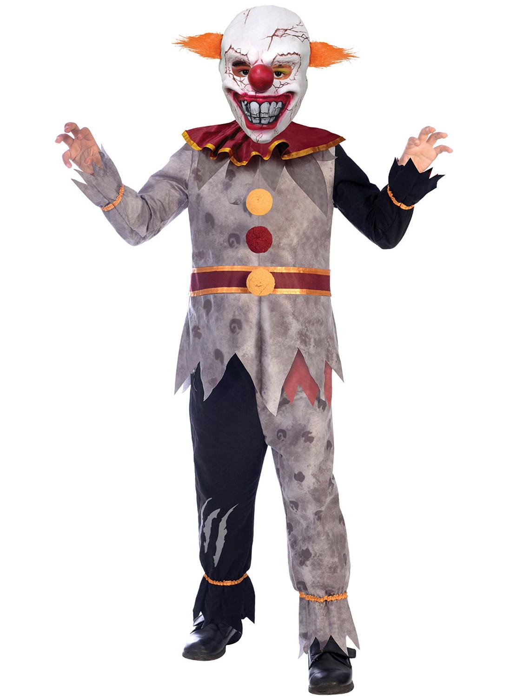 Boys Horror Scary Clown Costume Mask Halloween Circus Nightmare Fancy Dress