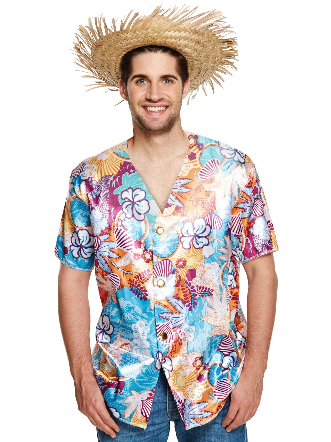 Mens Hawaiian Luau Costume Beach Party Tropical Aloha Fancy Dress Outfit