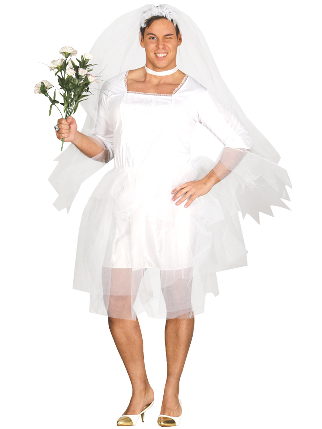 Mens-Bride-Costume-Stag-Do-Fancy-Dress-Male-White-Wedding-Dress-Costume-Funny thumbnail 3