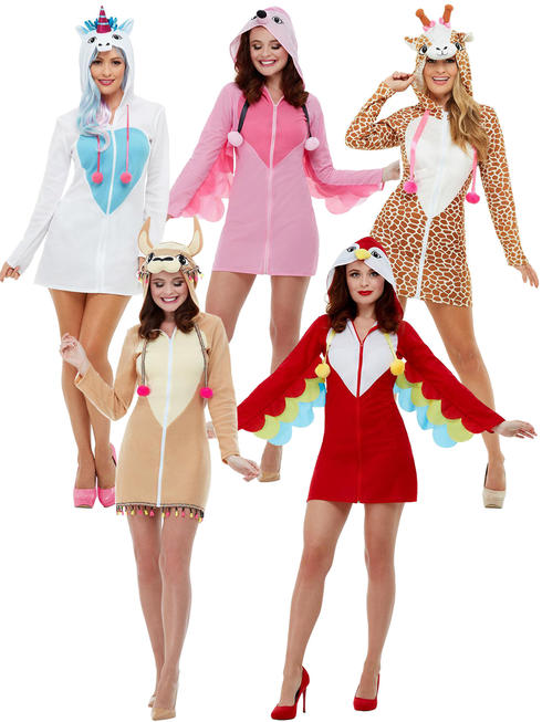 Ladies Giraffe Flamingo Unicorn LLama Costume