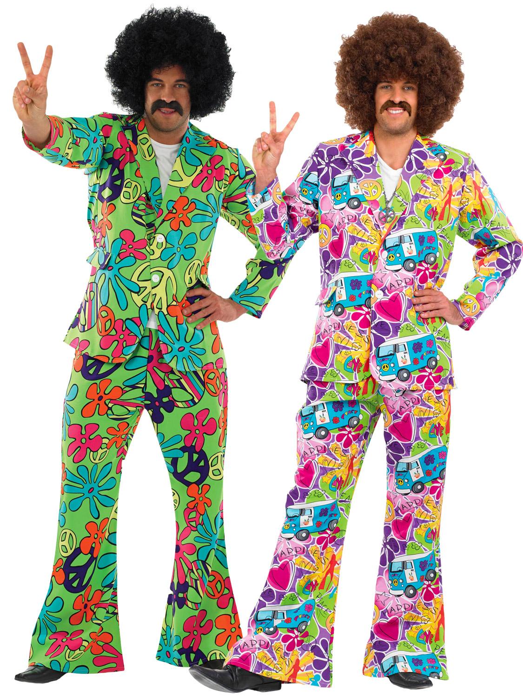 Mens Adult 60s 70s Hippie Hippy Psychedelic Suit Fancy