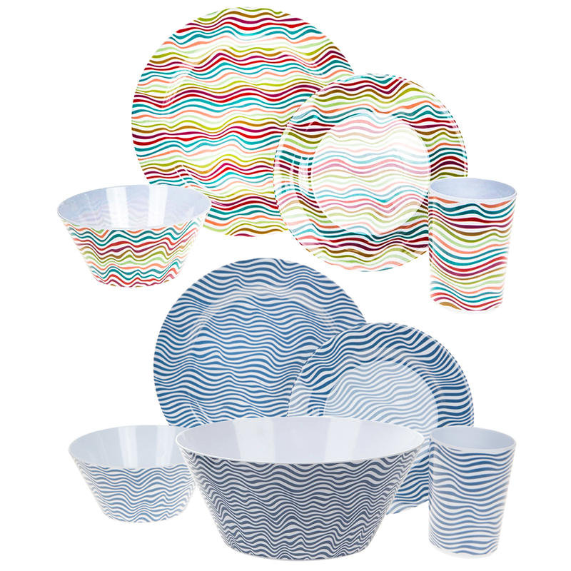 SUMMIT 16PC DINNER SET & SALAD BOWL - BLUE WAVE / BRUSHED STRIPES