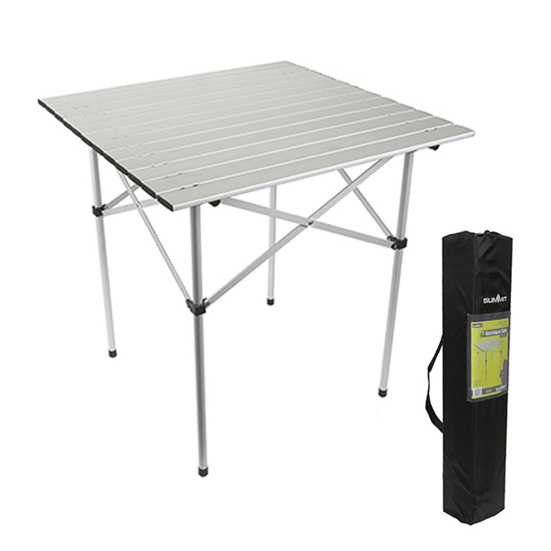 Summit 70 x 70cm Roll Top Table Aluminium Folding Camping Picnic Garden Party UK