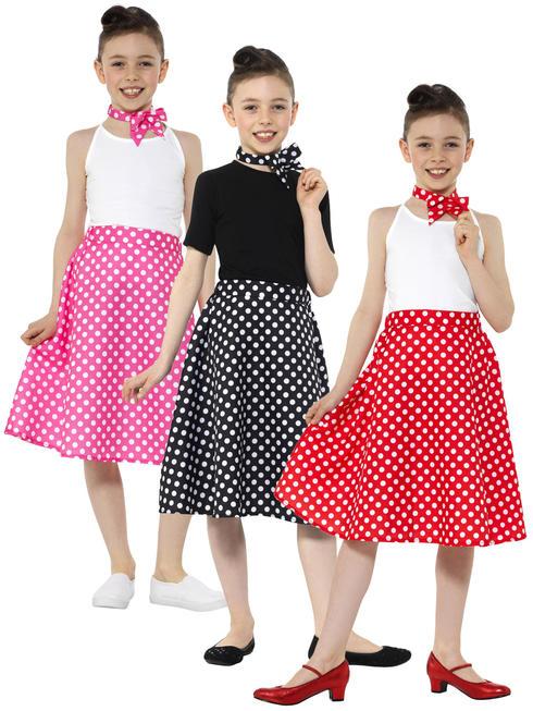 Girls 50S Polka Dot Skirt