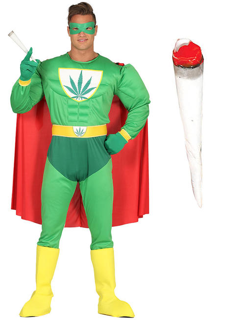 Mens Marijuana Superhero Costume / Joint Accessory