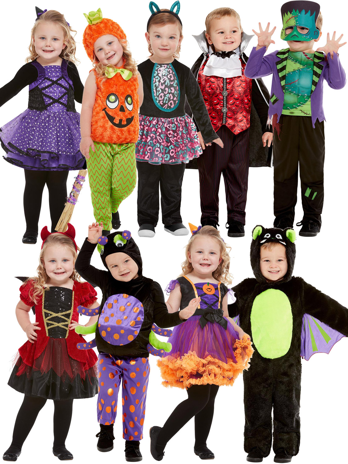 Details about Baby Toddler Halloween Costume Boys Girls Monster Witch Cat  Fancy Dress Outfit