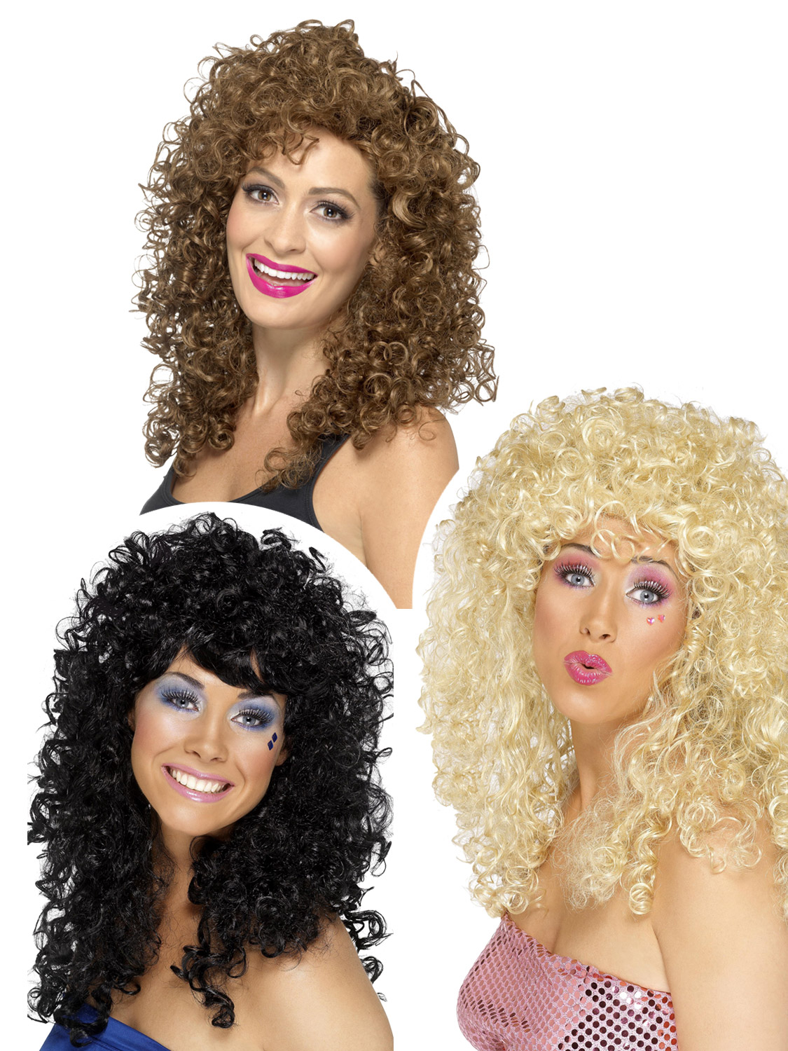 Boogie Babe Perruque-Déguisement Blonde Femme 80 S curly long Smiffys 70 s Costume