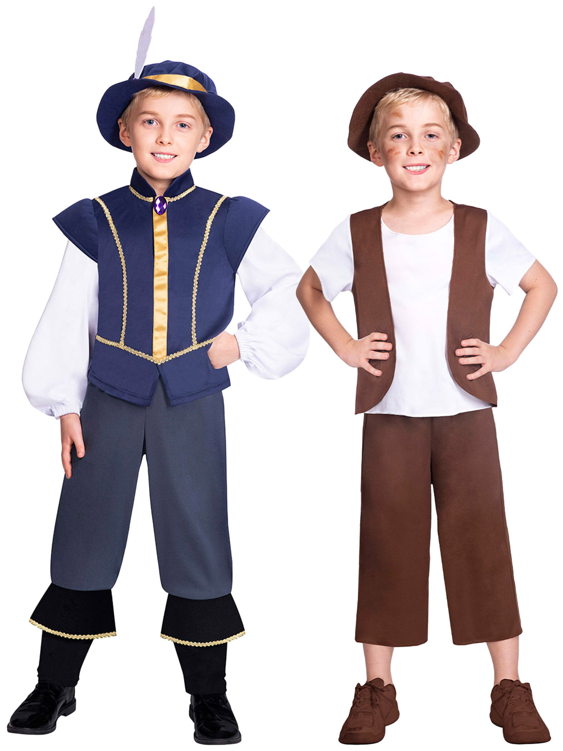 Child Tudor Boy Costume Book Week Day Medieval Fancy Dress Outfit Kids