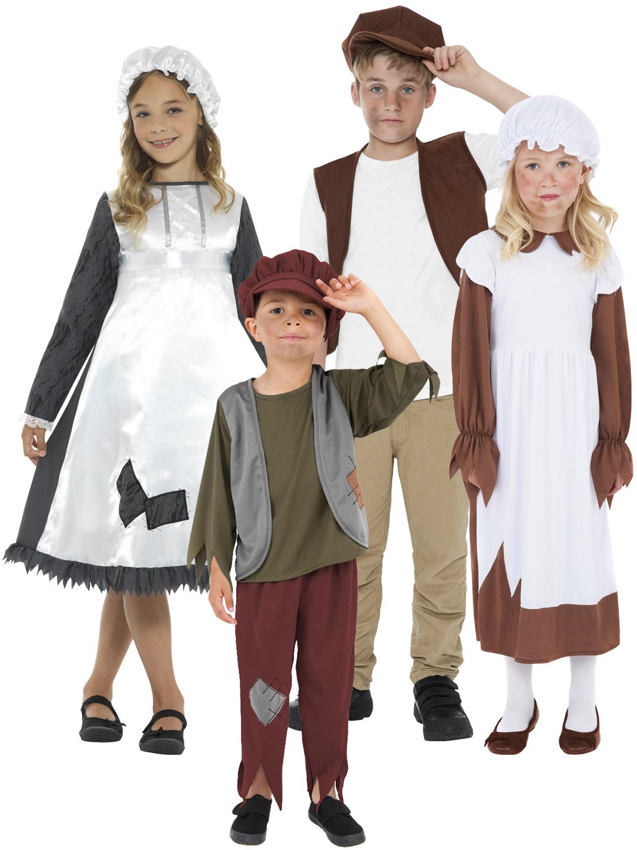 Fille Victorienne Robe fantaisie pauvres Maid Livre Jour Mop Cap Enfants Enfant Costume