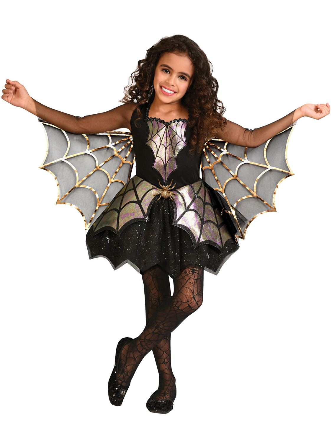 Child Spider Costume Miss Wicked Witch Web Girls Halloween Fancy Dress Outfit Ag