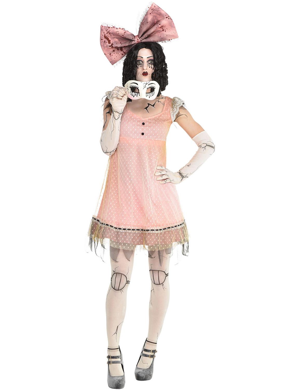 Girls Halloween Doll Fancy Dress Costume Porcelain Broken Rag Doll Outfit Voodoo