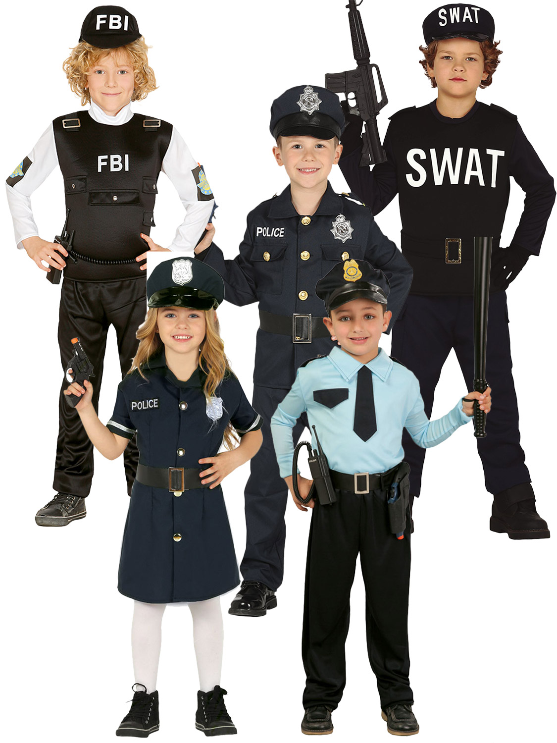 Kids Police Man Costume Boys Cop Uniform Radio Set Child Fancy Dress Outfit