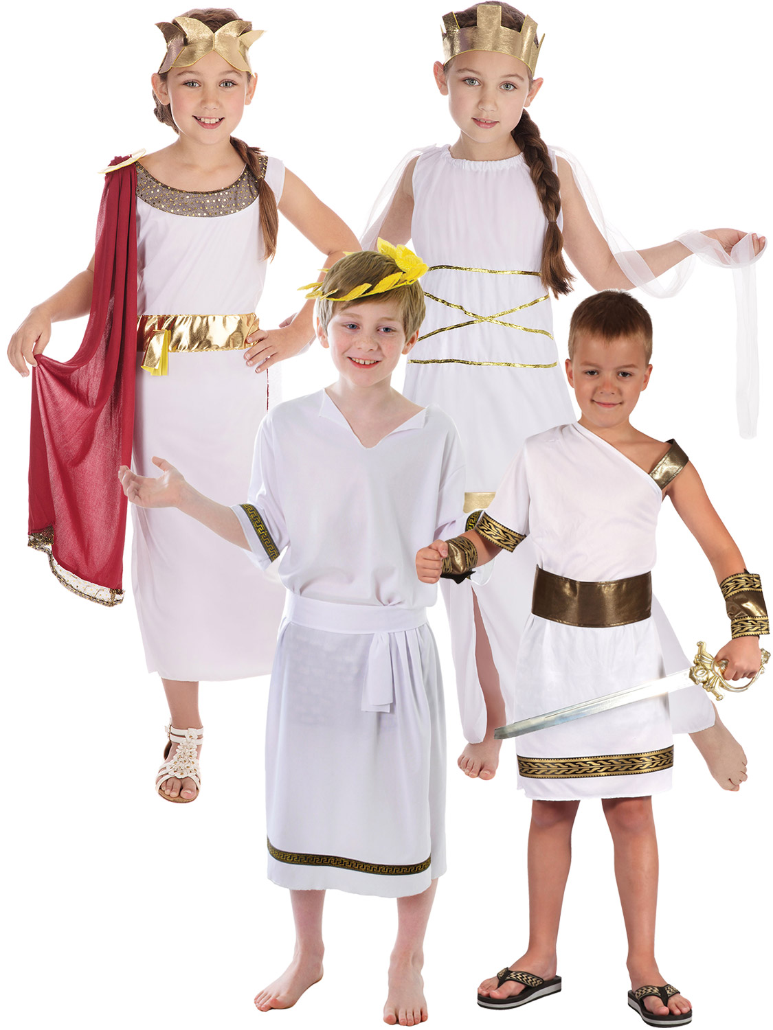 Boys Toga Roman Ancient Greek Historic Grecian Fancy Dress Up Costume