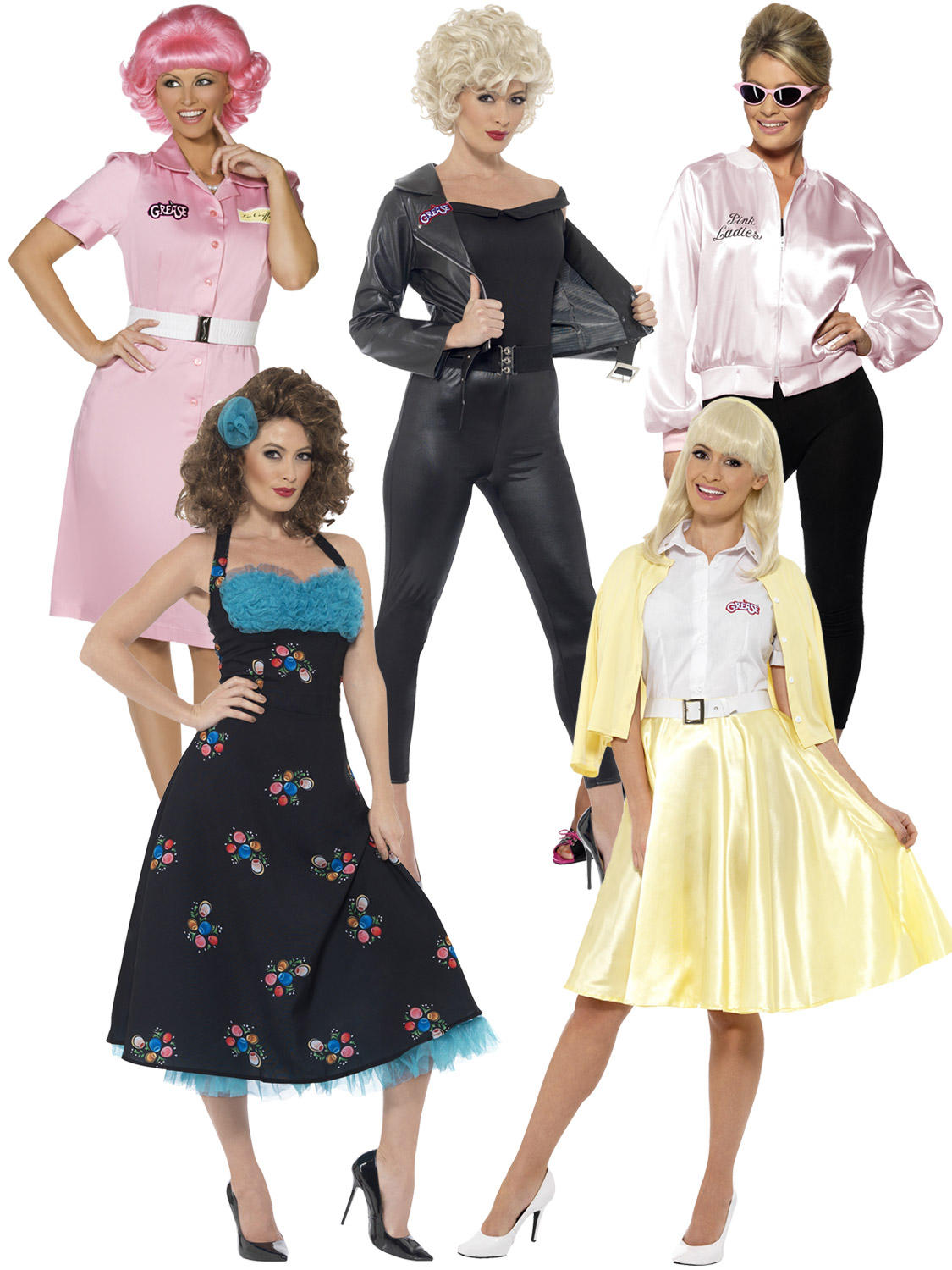 Welp Ladies Grease Sandy Costume 50 High School Frenchy Pink Lady ME-83
