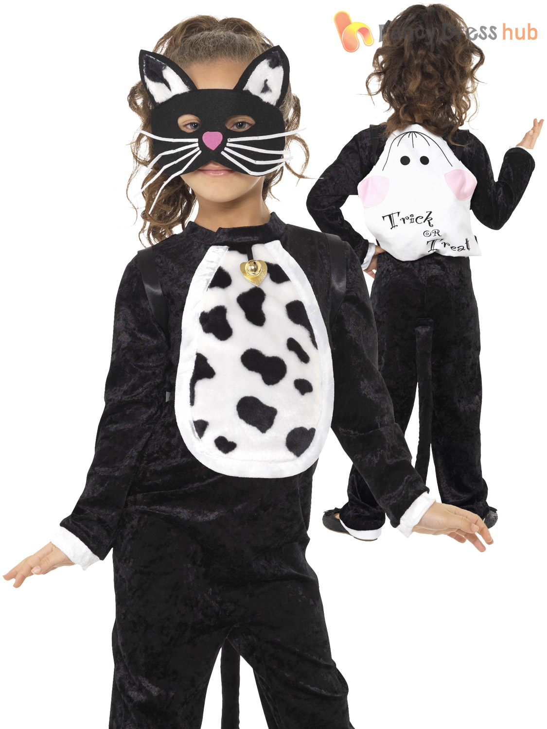 Girls Black Cat Costume Child Animal Halloween Fancy Dress Kids Book Week Outfit