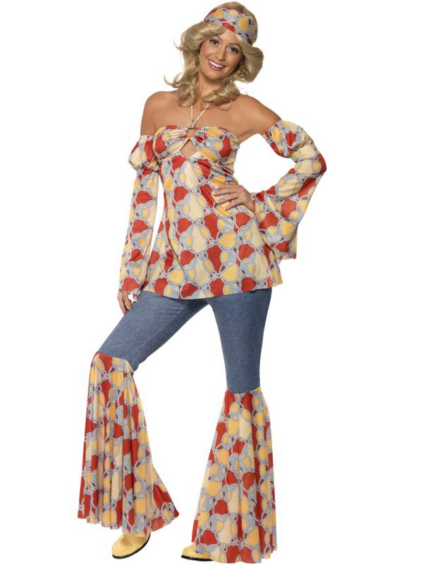 60er 70er Jahre Hippie Kostum Damen Retro Style Mit Schlag Ebay