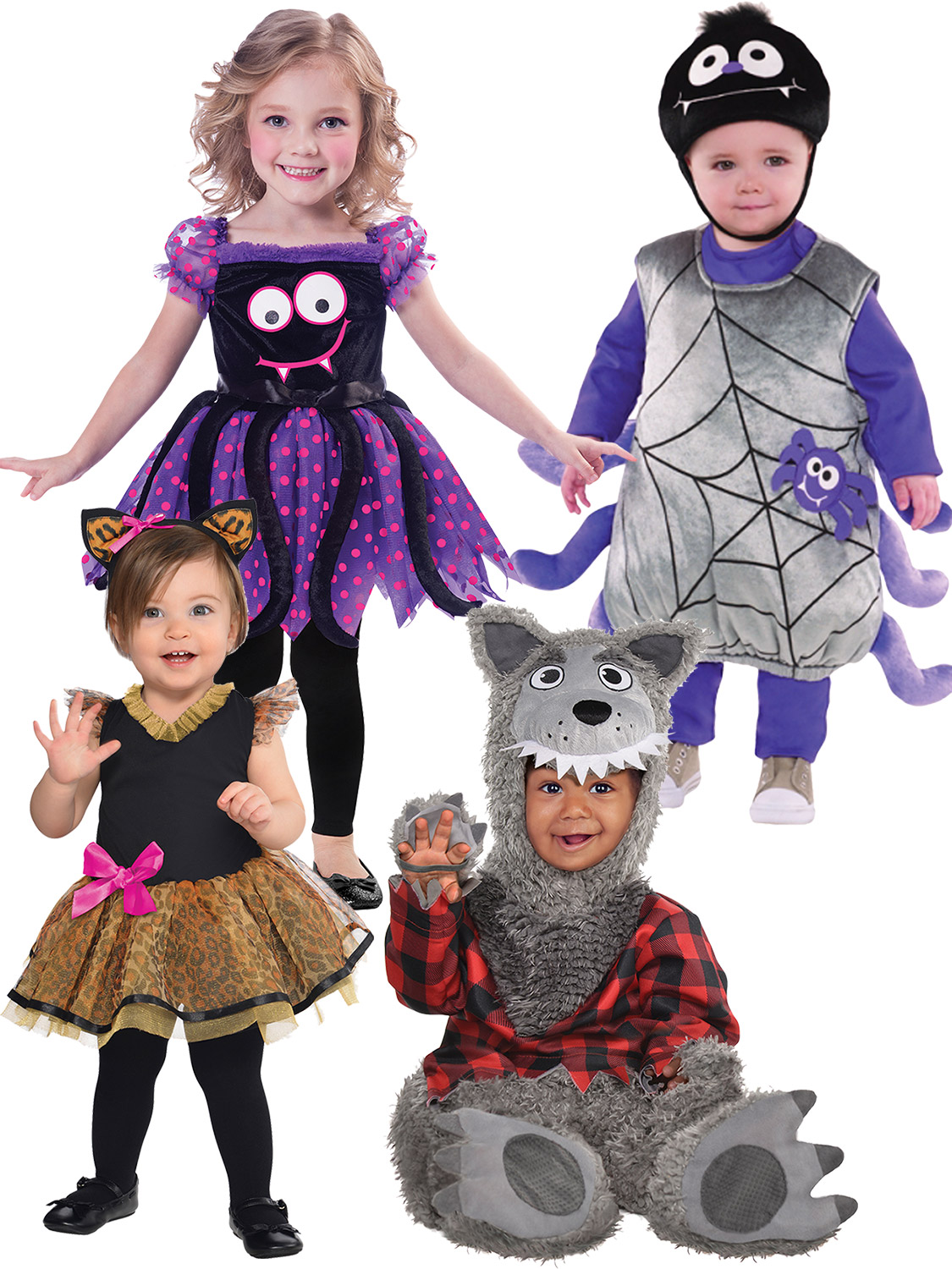 Baby Boy And Girl Matching Halloween Costumes.Toddler Halloween Costume Spider Cat Wolf Baby Fancy Dress