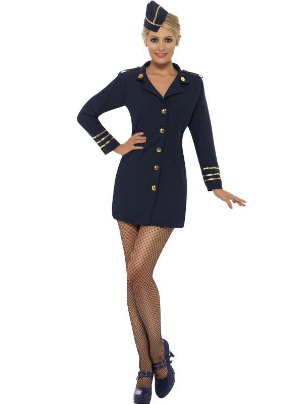 Womens Flight Attendant Costumes Air Stewardess Hostess Womens Fancy Dress