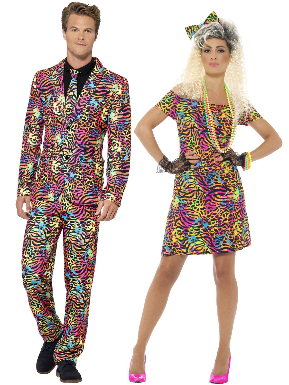 80/'s Party Animal Print Neon Rave Eighties Womens Ladies Fancy Dress Costume