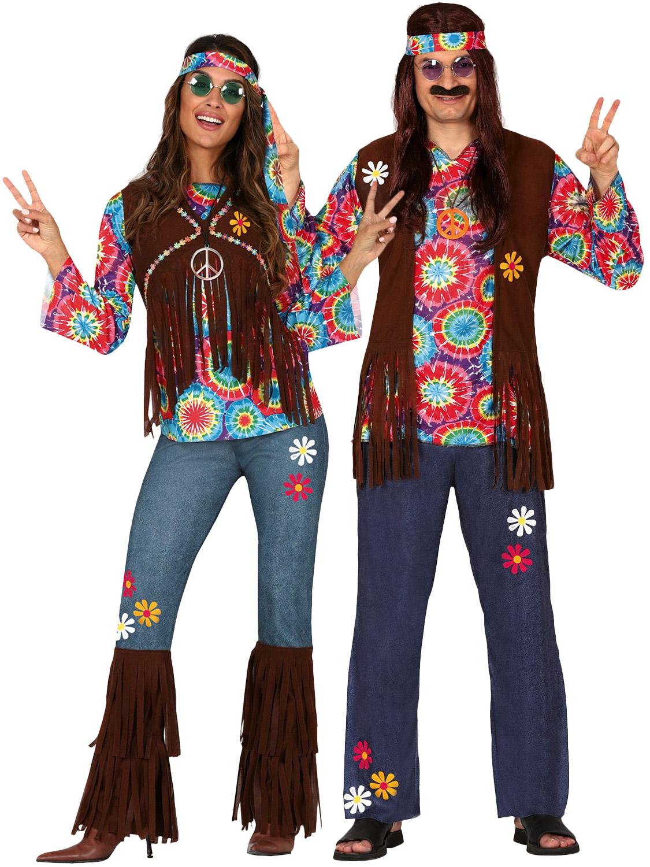 Adult Woodstock Hippie Chick Costume 1960s 70s Hippy Ladies Fancy Dress New