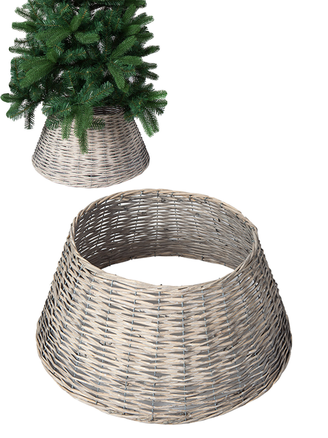 Grey Brown Natural Willow Tree Skirt Cover Base Christmas Wicker Decoration Ebay
