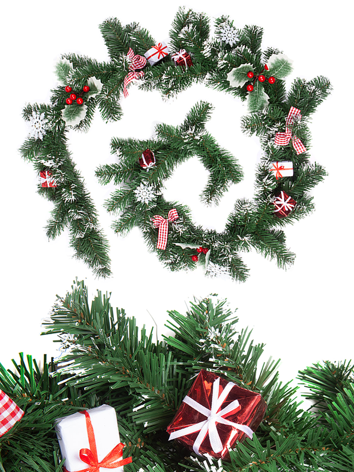 Christmas-Nordic-Wreath-Garland-Swag-Xmas-Scandi-Festive-Door-Mantle-Decoration thumbnail 8