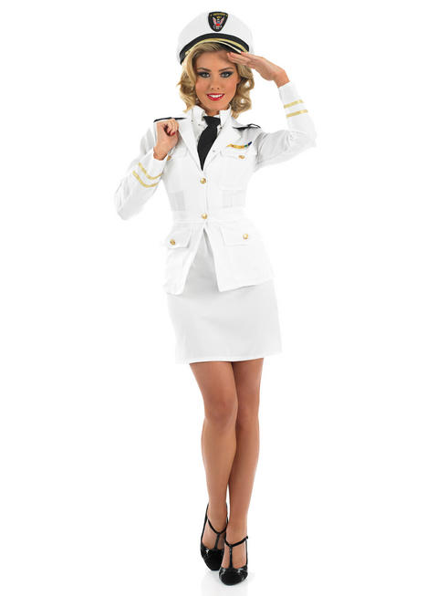 Ladies Sexy 1940s Naval Officer Costume