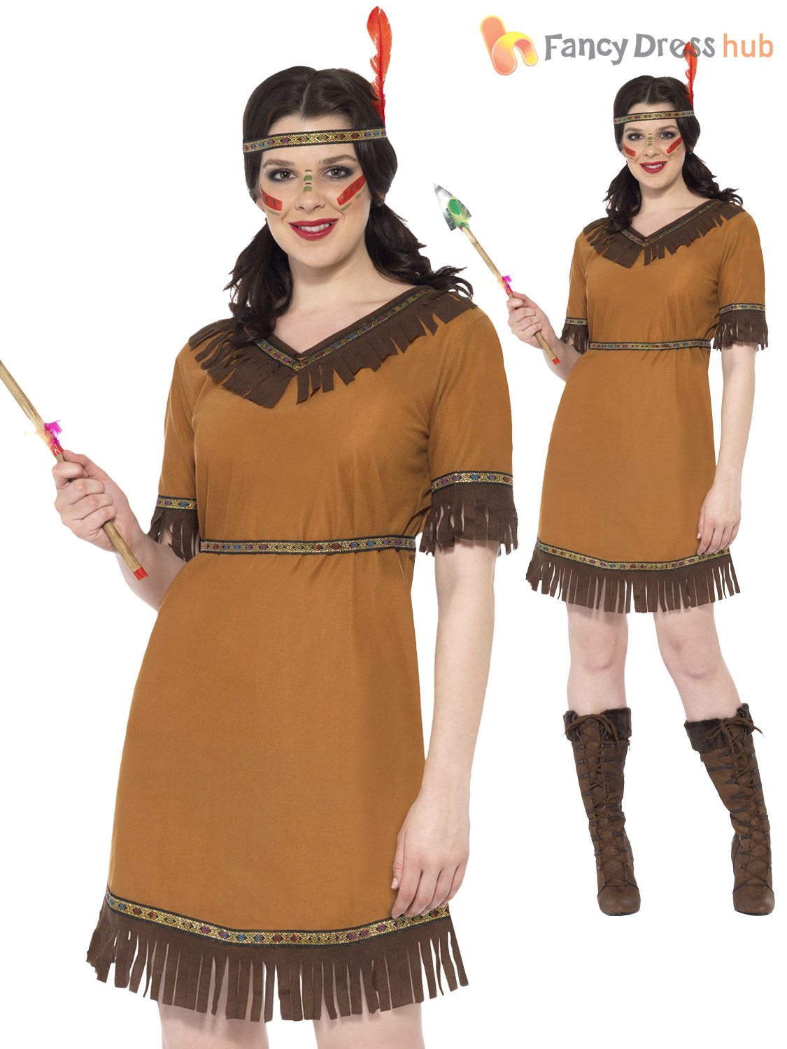 Size 8-18 Ladies Red Indian Squaw Pocahontas Fancy Dress -7668