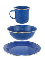 Yellowstone Blue Enamel Camping Mug, Bowl & Plate