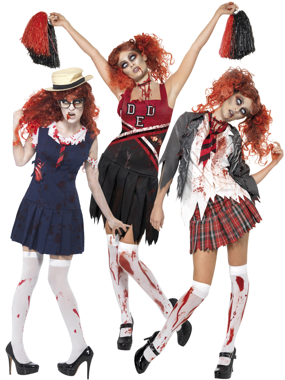adult ladies zombie school girl cheerleader womens halloween fancy dress costume ebay. Black Bedroom Furniture Sets. Home Design Ideas