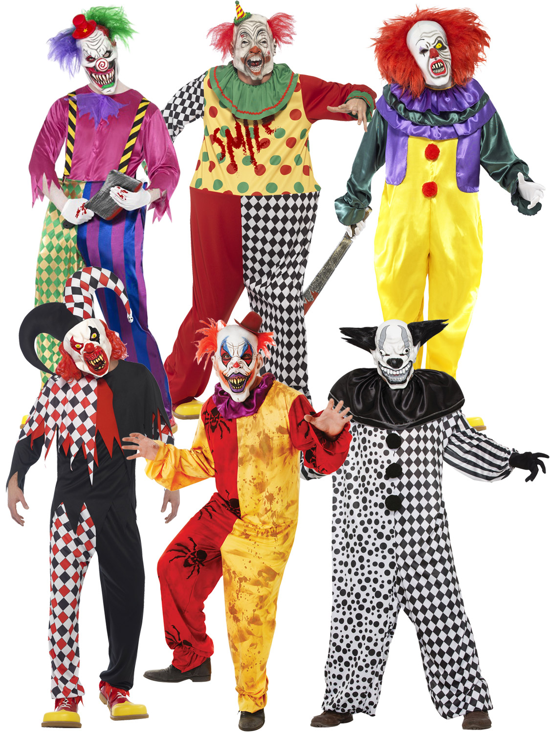 Scary Clown Fancy Dress Costume Mens Horror Killer Circus Halloween Adult Outfit