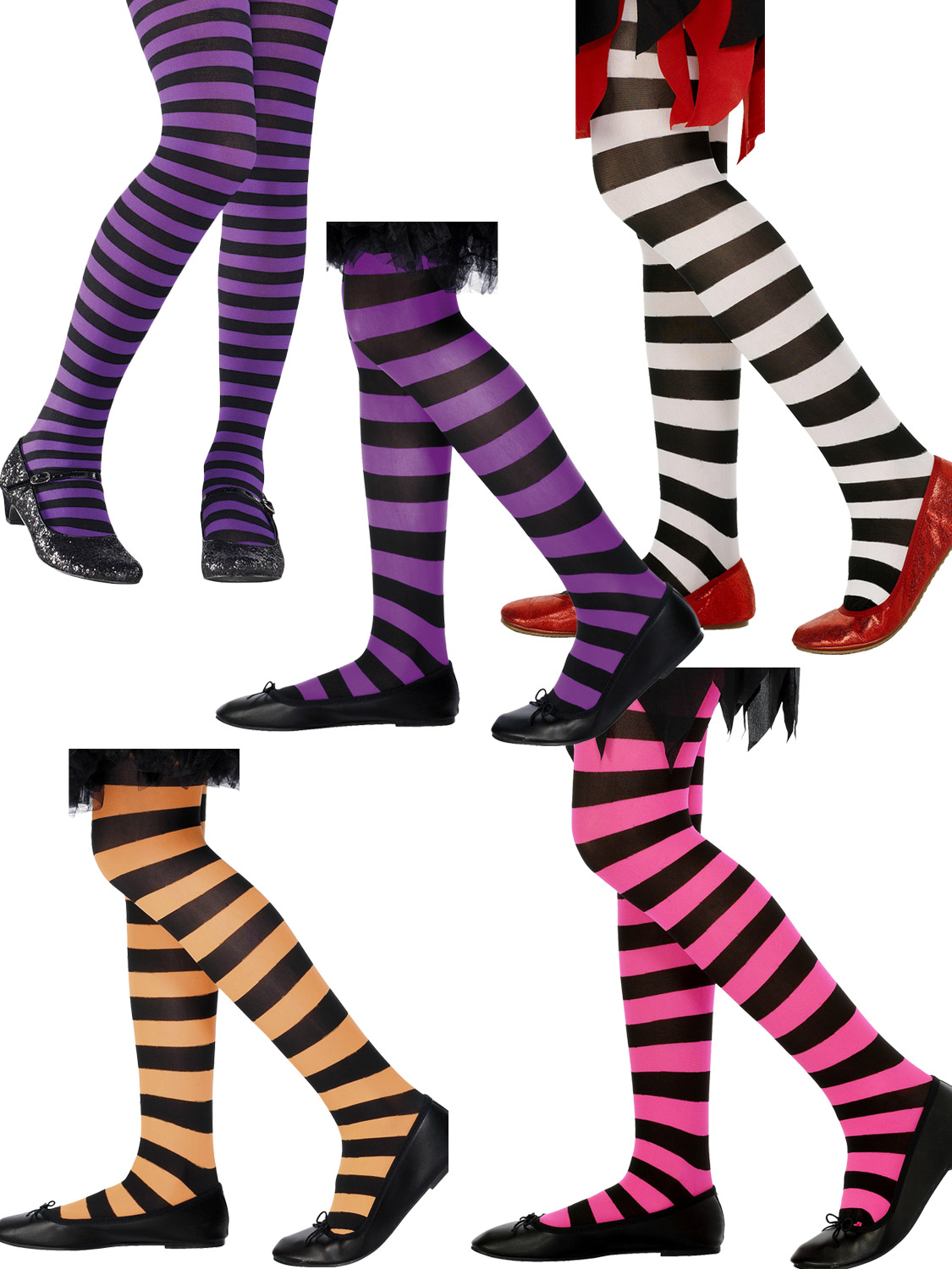 Black and Pink Striped Tights Girls Halloween Witch Fancy Dress Kids Costume Acc