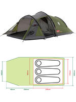 Coleman Tasman 3 Man Three Person Berth Tunnel Camping Festival Deluxe Tent