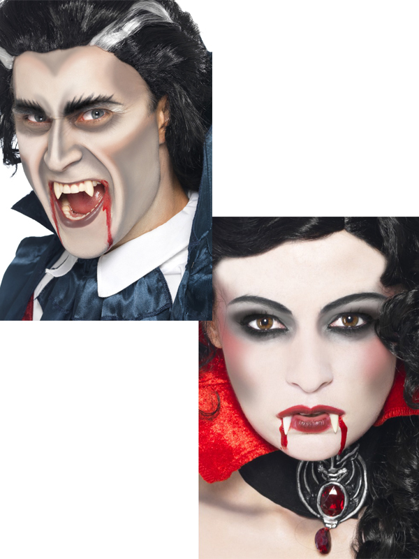 Vampire Make Up Kit Set+ Fangs Face Paint Dracula Halloween Fancy ...