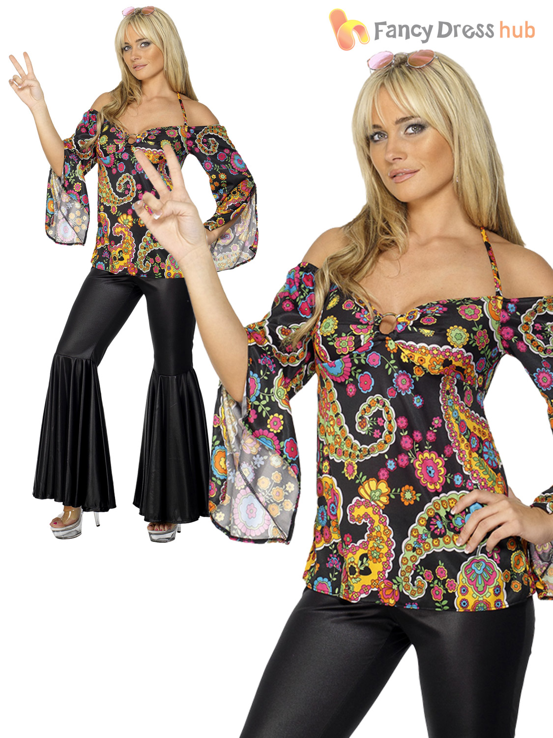 ladies hippy fancy dress costume hippie womens 1970s 60 39 s outfit flares ebay. Black Bedroom Furniture Sets. Home Design Ideas