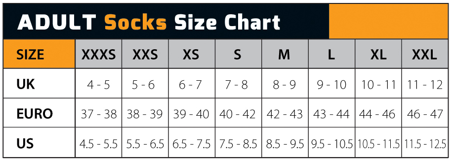 Shoes And Sox Size Chart