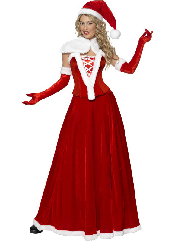 Details about Ladies Deluxe Mrs Miss Santa Fancy Dress Costume Womens  Father Christmas Outfit - Ladies Deluxe Mrs Miss Santa Fancy Dress Costume Womens Father