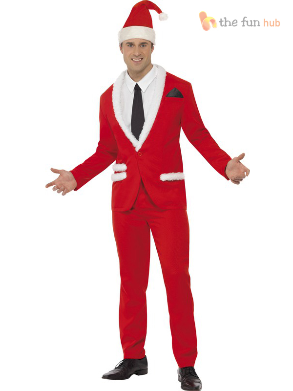Mens-Father-Christmas-Cool-Santa-Suit-Fancy-Dress- - Mens Father Christmas Cool Santa Suit Fancy Dress Costume Stag Party