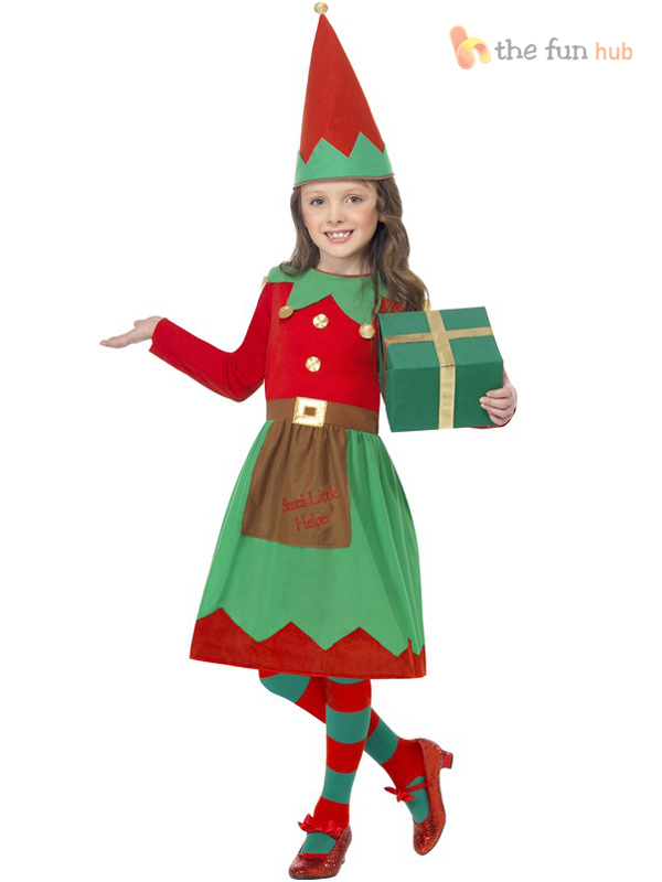 Girls Santas Little Helper Elf Fancy Dress Costume Childs Kids ...