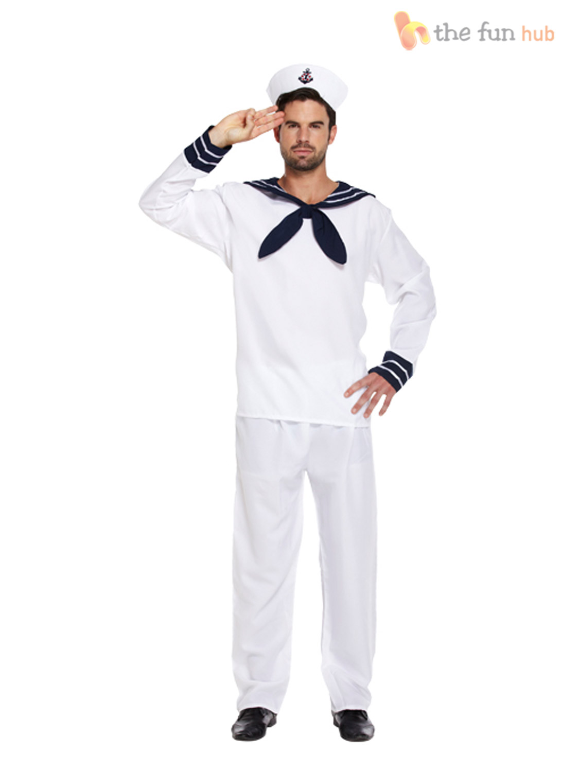 mens sailor complete outfit hat navy fancy dress officer marine