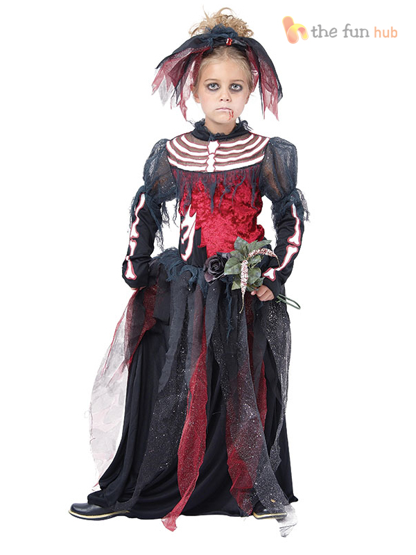 Halloween Costumes For Kids Girls 11 And Up.Details About Girls Ghost Zombie Corpse Bride Fancy Dress Up Halloween Book Week Kids Costume